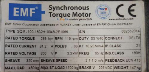اطلاعات روی پلاک موتور آسانسور